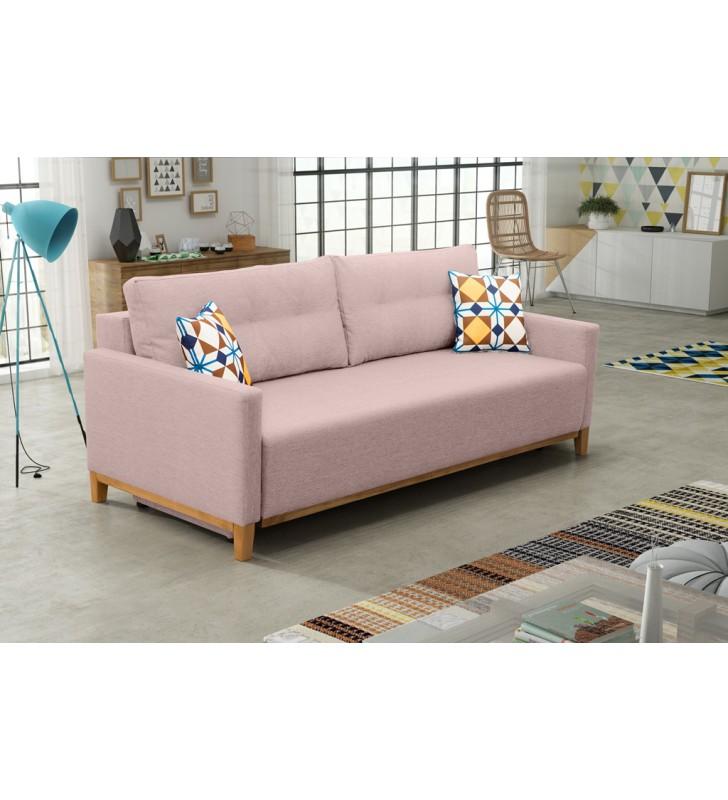 Różowa, rozkładana sofa z pojemnikiem na pościel Ariel malmo61