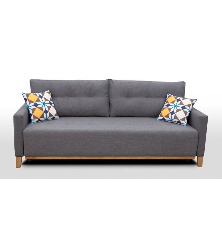 Brązowa, rozkładana sofa z pojemnikiem na pościel Ariel malmo28