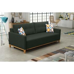 Zielona, rozkładana sofa z pojemnikiem na pościel KS5m37