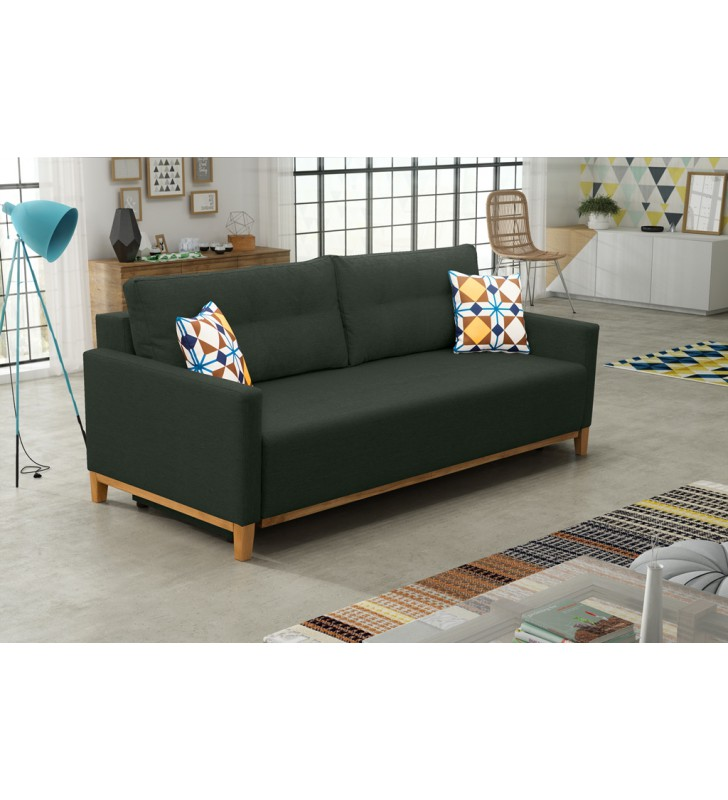 Zielona, rozkładana sofa z pojemnikiem na pościel Ariel malmo37