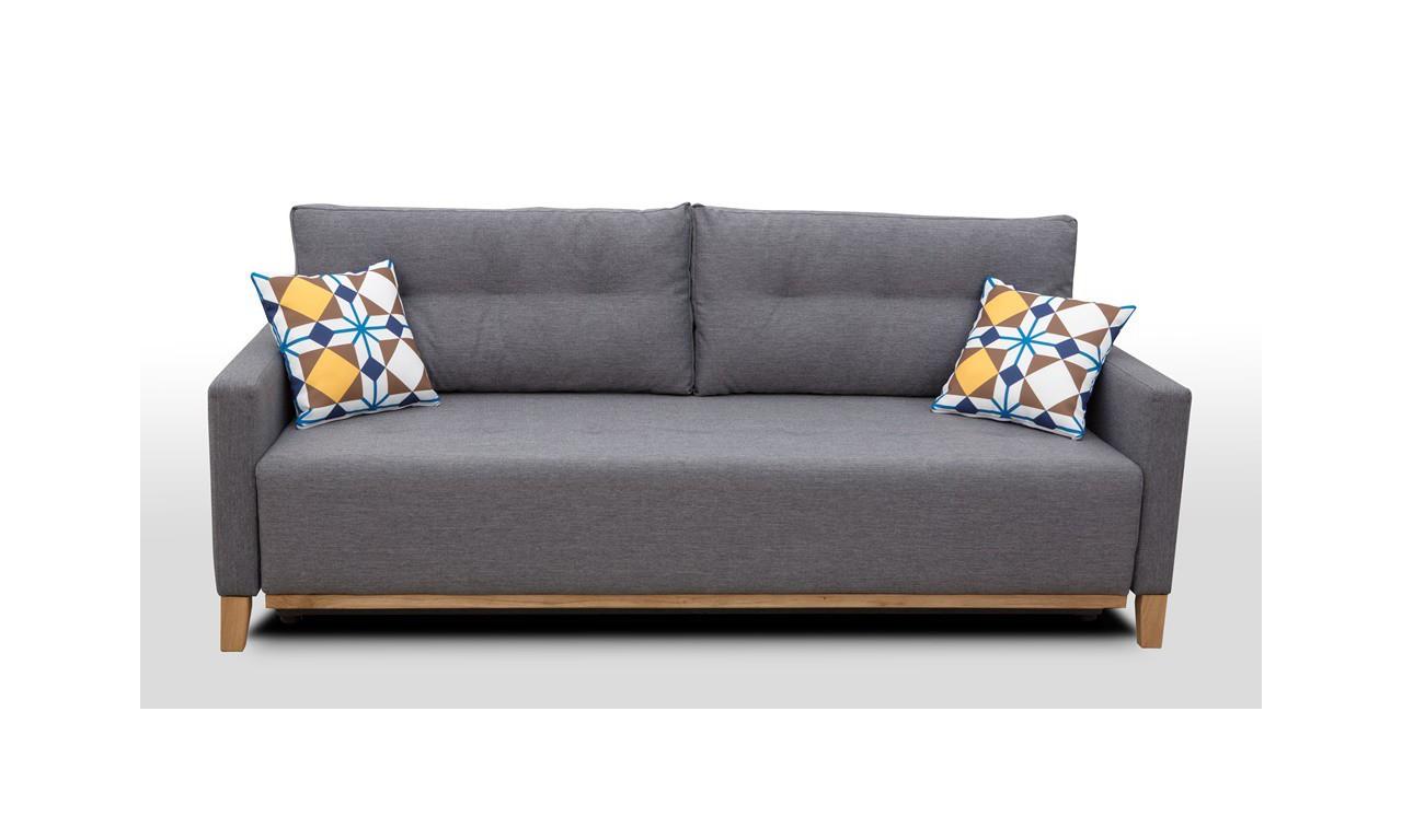 Żółta, rozkładana sofa z pojemnikiem na pościel Ariel malmo41