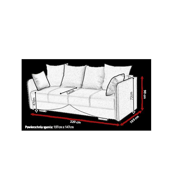 Szara, rozkładana sofa z pojemnikiem na pościel Iga