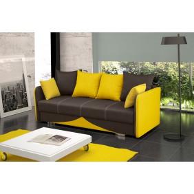 Brązowo-żółta, rozkładana sofa z pojemnikiem na pościel Iga