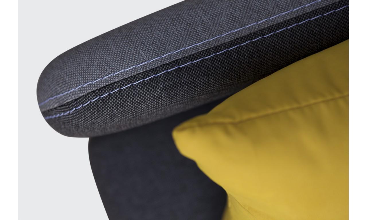 Żółta, rozkładana sofa z pojemnikiem na pościel Iga