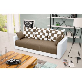 Beżowa, rozkładana sofa z pojemnikiem na pościel KS8i23s17