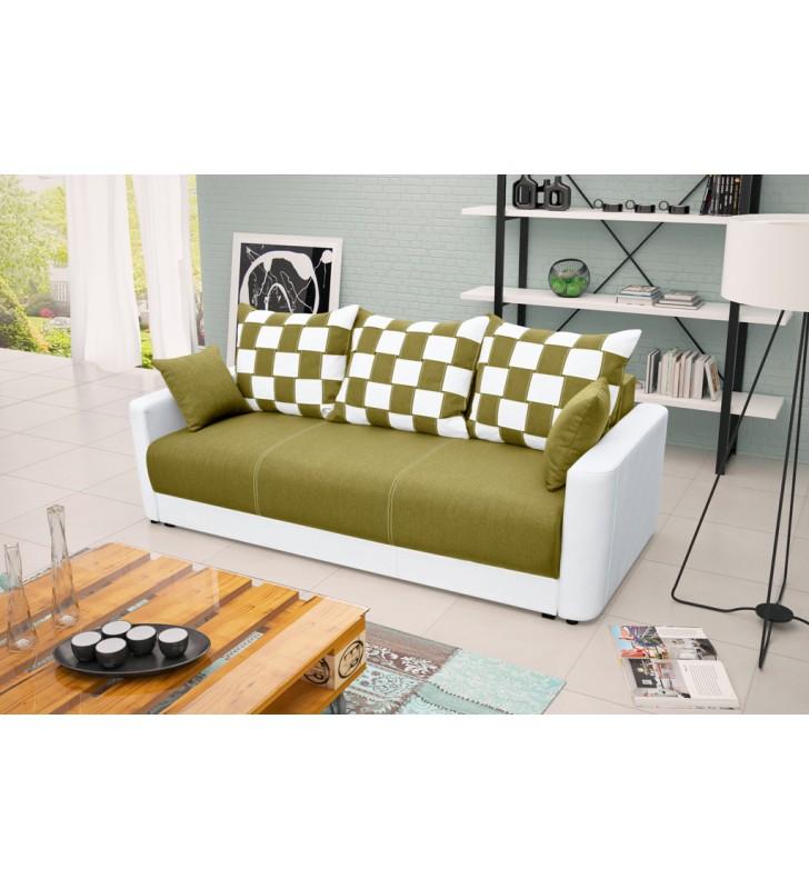 Zielona, rozkładana sofa z pojemnikiem na pościel Xara