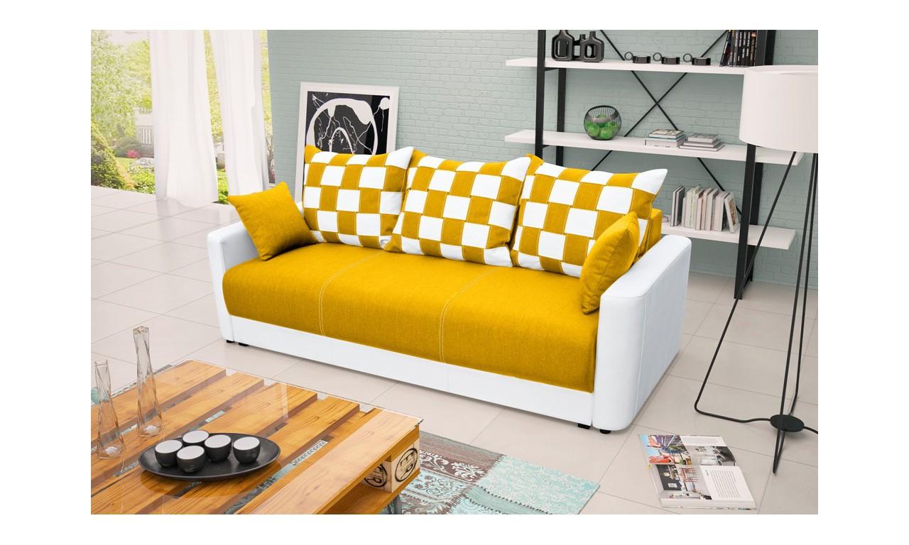 Żółta, rozkładana sofa z pojemnikiem na pościel Xara