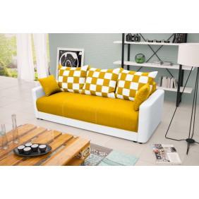 Żółta, rozkładana sofa z pojemnikiem na pościel KS8i41s17