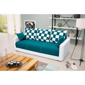 Turkusowa, rozkładana sofa z pojemnikiem na pościel KS8i87s17