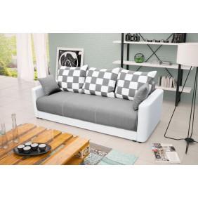 Szara, rozkładana sofa z pojemnikiem na pościel KS8i91s17