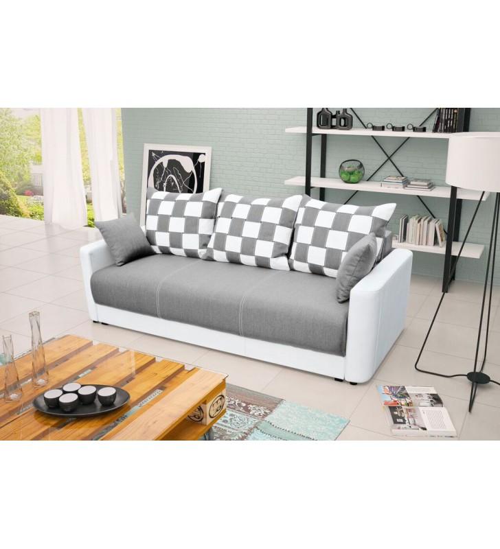 Jasnoszara, rozkładana sofa z pojemnikiem na pościel Xara