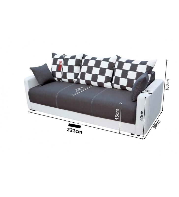 Szara, rozkładana sofa z pojemnikiem na pościel Xara