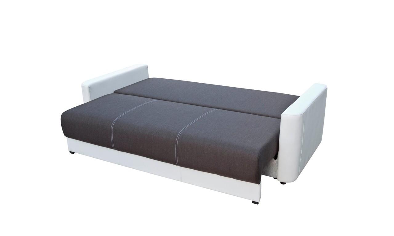 Czarna, rozkładana sofa z pojemnikiem na pościel Xara