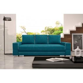 Turkusowa, rozkładana sofa z pojemnikiem na pościel KS9i87s17