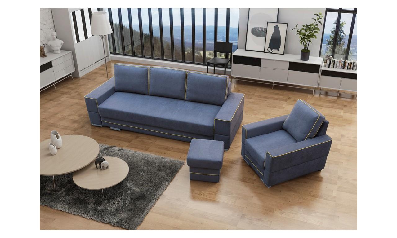 Turkusowa, rozkładana sofa z pojemnikiem na pościel Samanta A