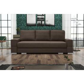 Brązowa, rozkładana sofa z pojemnikiem na pościel KS9m28