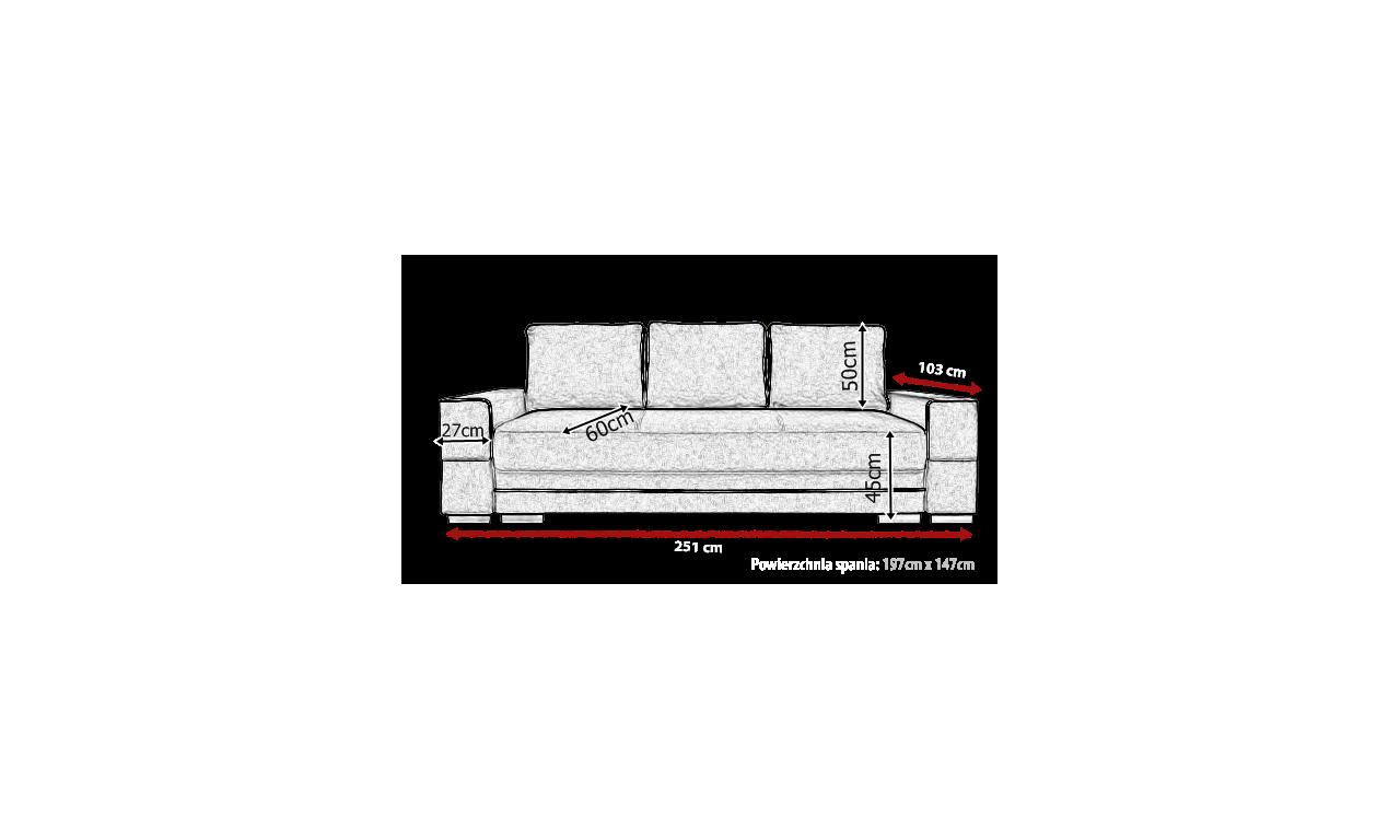 Czarna, rozkładana sofa z pojemnikiem na pościel Samanta A