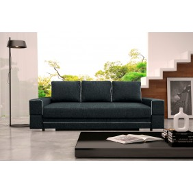 Czarna, rozkładana sofa z pojemnikiem na pościel KS9i100s17