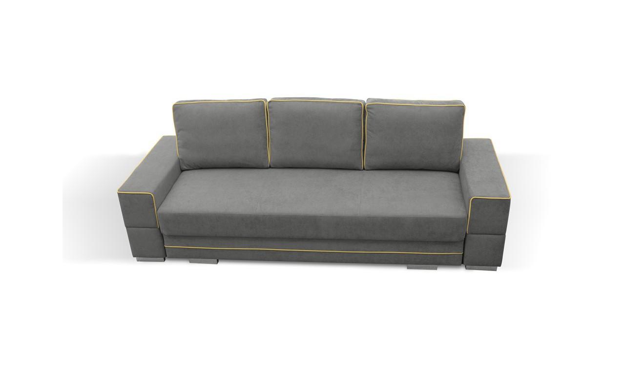 Jasnoszara, rozkładana sofa z pojemnikiem na pościel Samanta A