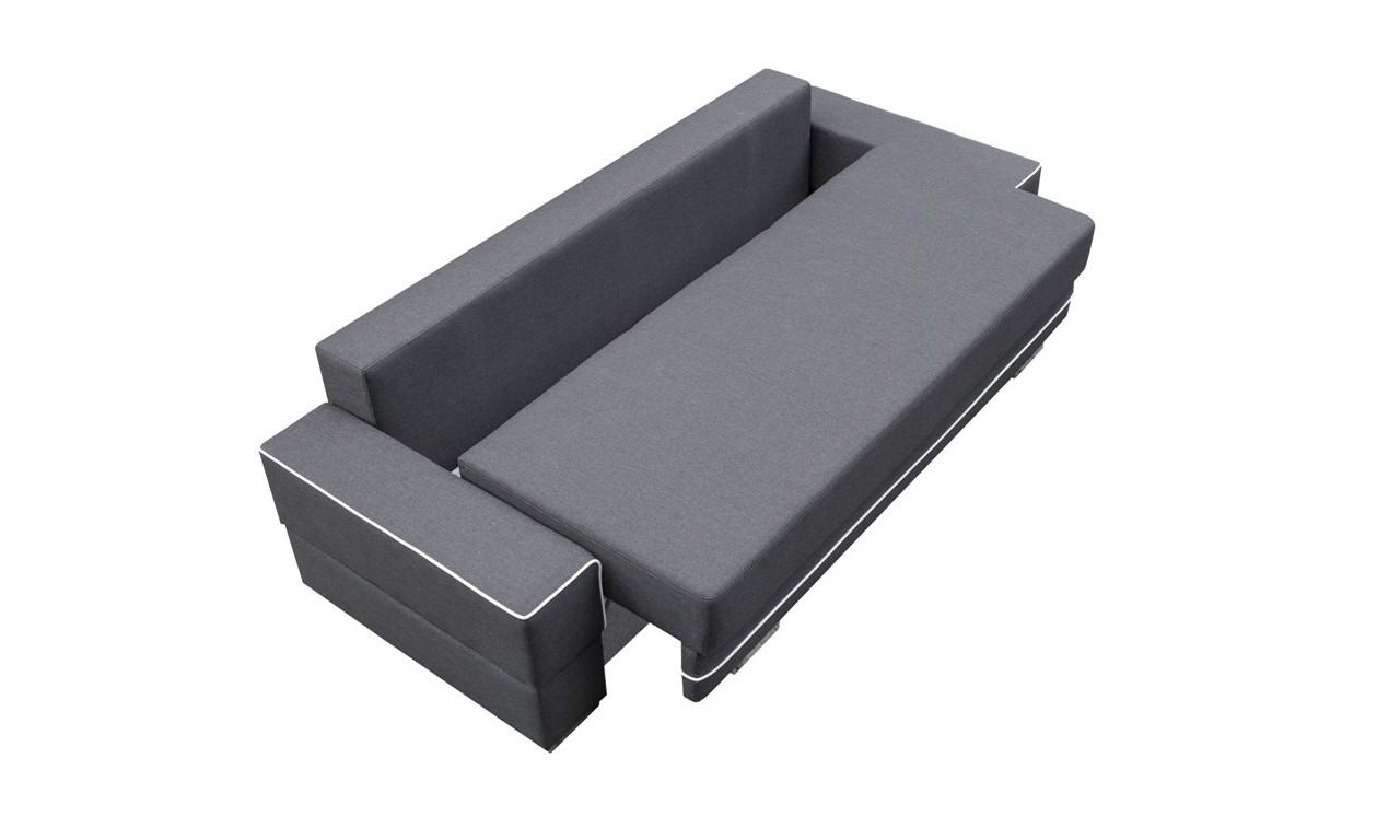 Beżowa, rozkładana sofa z pojemnikiem na pościel Samanta A