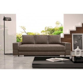 Brązowa, rozkładana sofa z pojemnikiem na pościel KS9i27s17