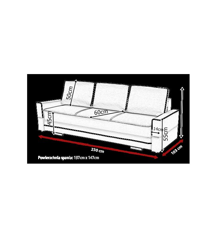 Jasnoszara, rozkładana sofa z pojemnikiem na pościel Samanta B