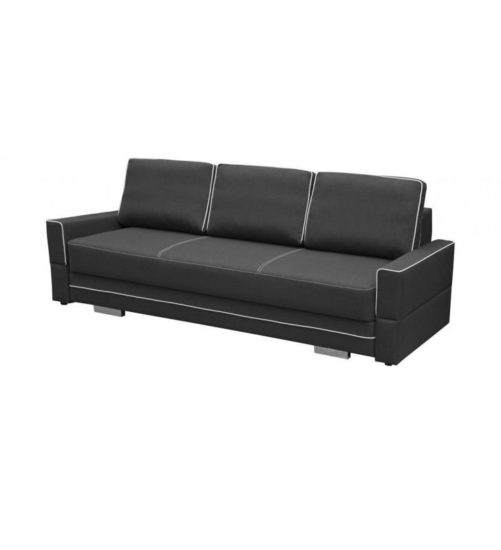 Szara, rozkładana sofa z pojemnikiem na pościel Samanta B