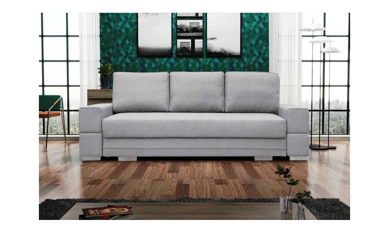Jasnoszara, rozkładana sofa z pojemnikiem na pościel Sofia
