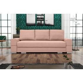 Różowa, rozkładana sofa z pojemnikiem na pościel Sofia