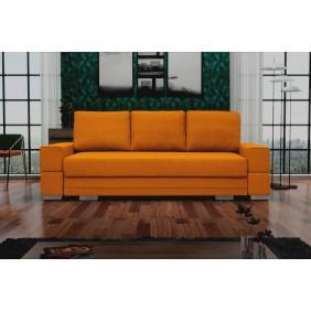 Żółta, rozkładana sofa z pojemnikiem na pościel Sofia