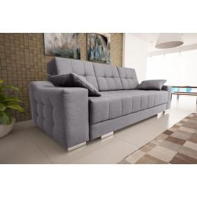 Szara, rozkładana sofa z pojemnikiem na pościel KS12s21