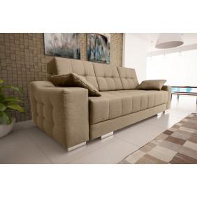 Beżowa, rozkładana sofa z pojemnikiem na pościel KS12s24