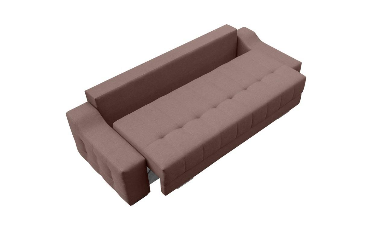 Beżowa, rozkładana sofa z pojemnikiem na pościel Cyntia