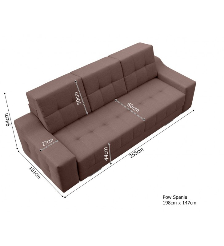 Szara, rozkładana sofa z pojemnikiem na pościel Cyntia