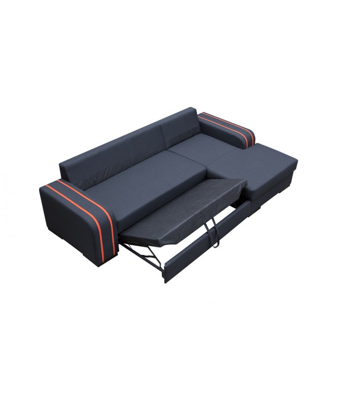 Czarny narożnik z funkcją spania i pojemnikiem na pościel Viper (Inari100+soft17)