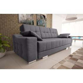 Szara, rozkładana sofa z pojemnikiem na pościel KS12s05