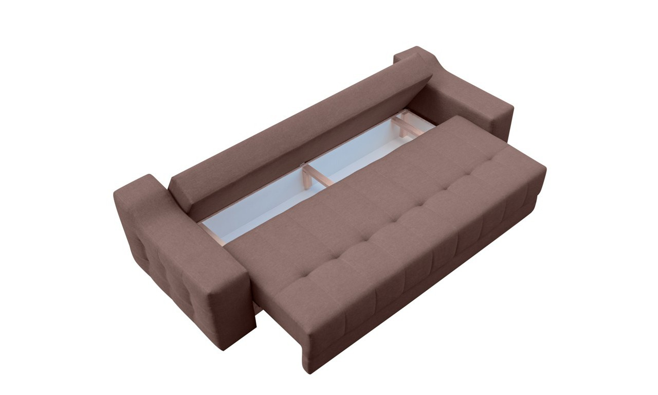 Brązowa, rozkładana sofa z pojemnikiem na pościel Cyntia