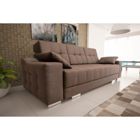 Brązowa, rozkładana sofa z pojemnikiem na pościel KS12s16