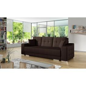 Brązowa, rozkładana sofa z pojemnikiem na pościel KS13m28