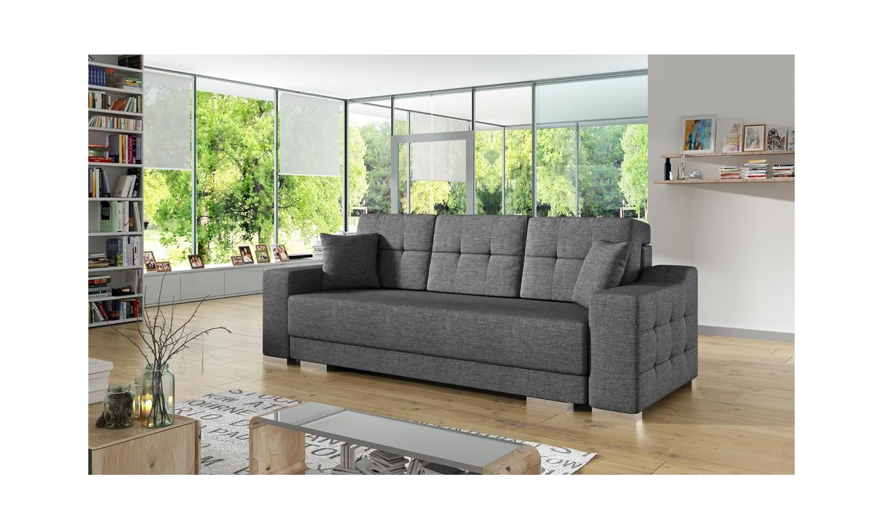 Szara, rozkładana sofa z pojemnikiem na pościel Cypis sawana05
