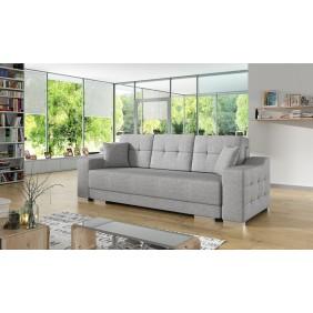 Szara, rozkładana sofa z pojemnikiem na pościel KS13s21
