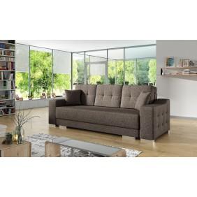 Brązowa, rozkładana sofa z pojemnikiem na pościel KS13i27