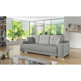 Szara, rozkładana sofa z pojemnikiem na pościel KS13m83