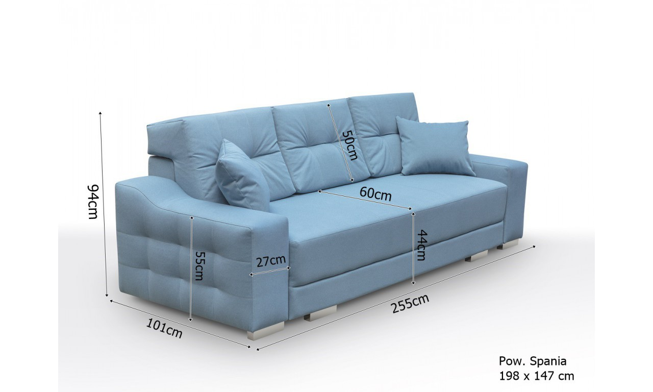 Szara, rozkładana sofa z pojemnikiem na pościel Cypis malmo83