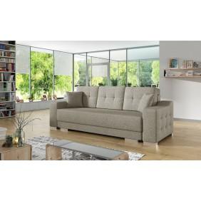 Beżowa, rozkładana sofa z pojemnikiem na pościel KS13i23