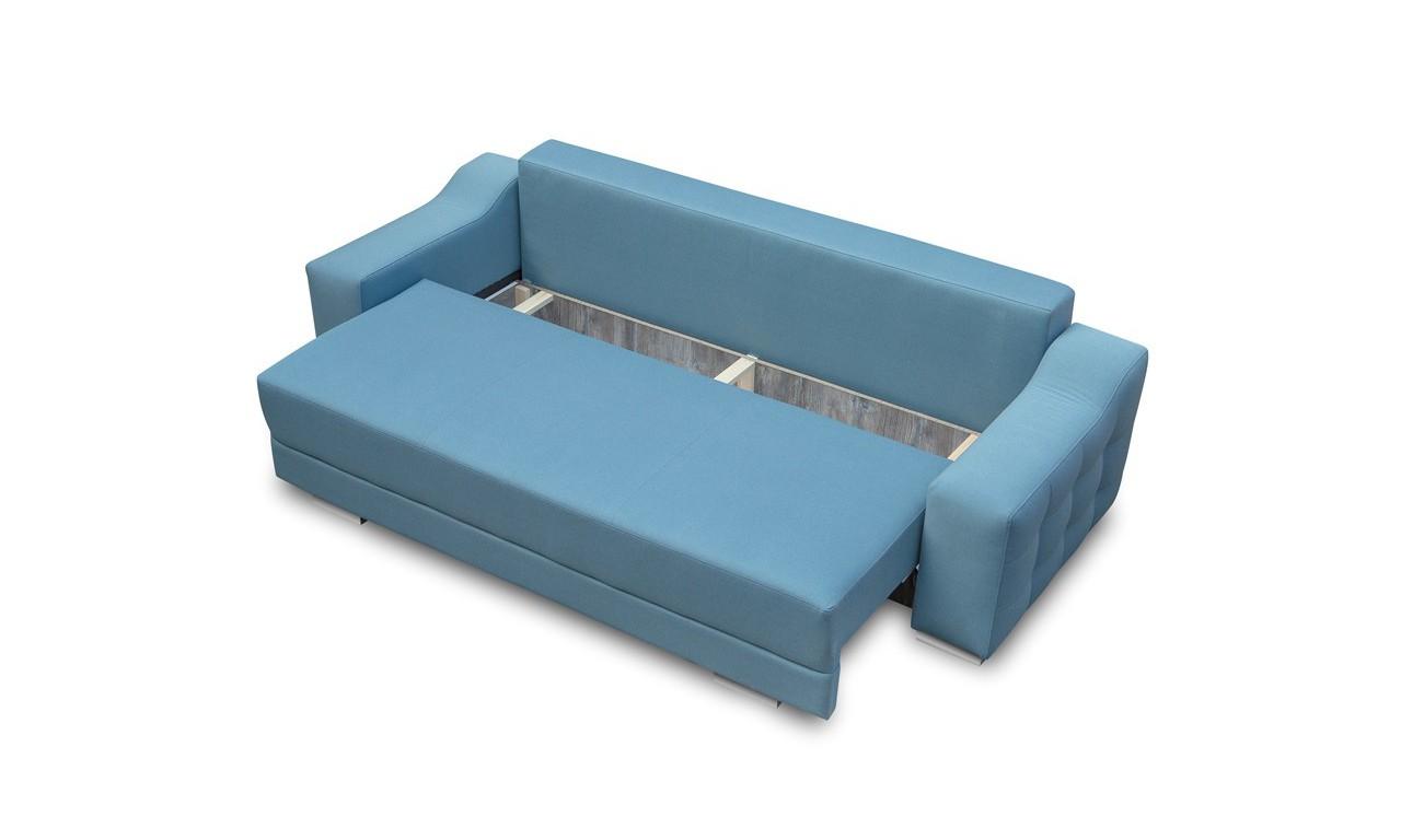 Beżowa, rozkładana sofa z pojemnikiem na pościel Cypis inari23