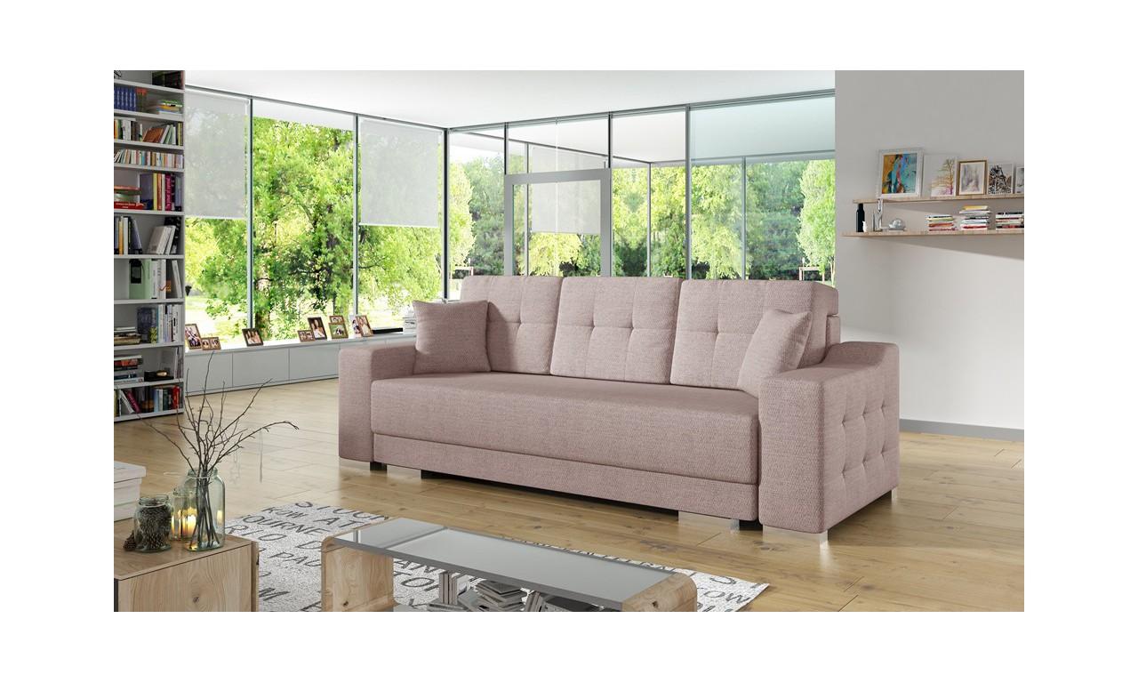 Różowa, rozkładana sofa z pojemnikiem na pościel Cypis malmo61