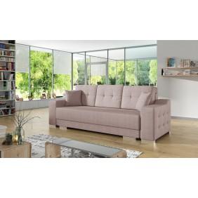 Różowa, rozkładana sofa z pojemnikiem na pościel KS13m61
