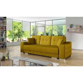 Żółta, rozkładana sofa z pojemnikiem na pościel Cypis malmo41