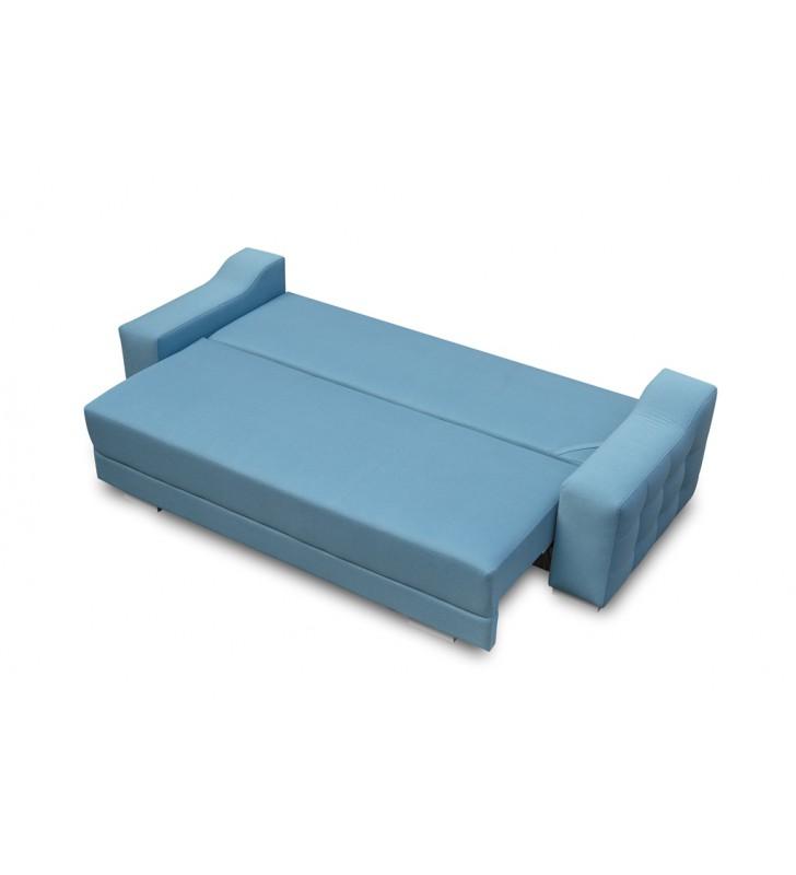 Zielona, rozkładana sofa z pojemnikiem na pościel Cypis twist11